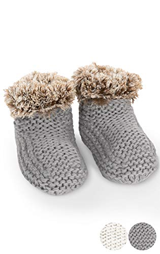 Addison Meadow Bootie Slippers for Women - Knit, Gray, One Size Fits Most