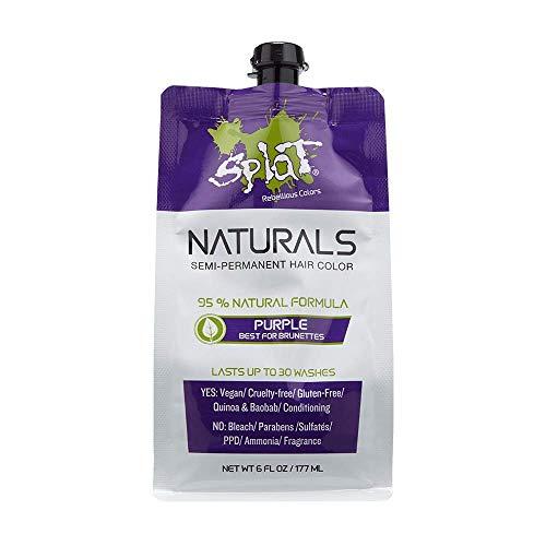 Splat Naturals, Semi-Permanent Purple Hair Dye : 100% Vegan, Cruelty-Free, No Bleach Required, Free of Ammonia, PPD, Parabens & Sulfates - 6 Oz