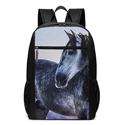 Schulrucksack Graues andalusisches Pferd, Schultaschen Teenager Rucksack Schultasche Schulrucksäcke Backpack für Damen Herren Junge Mädchen 15,6 Zoll Notebook