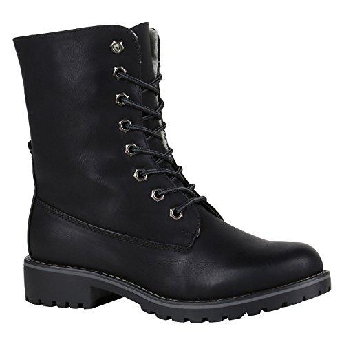 Gefütterte Damen Worker Boots Outdoor Stiefeletten Schuhe 148897 Schwarz Matt 39 Flandell