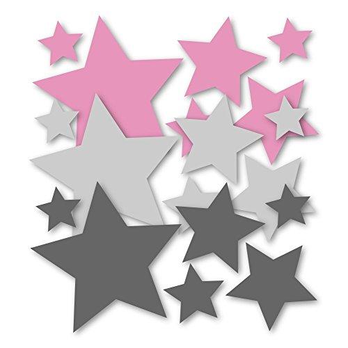 30 Stück selbstklebende Sterne Aufkleber 62s1, Wandtattoo, Türaufkleber, Fahrradaufkleber, Autoaufkleber, Mix-Set rosa grau für Mädchen, Fensterdekoration Fensterbild/Fensteraufkleber, Sticker