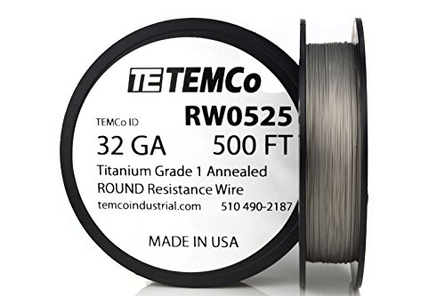 TEMCo Titanium Wire 32 Gauge 500 FT Surgical Grade 1 Resistance AWG ga