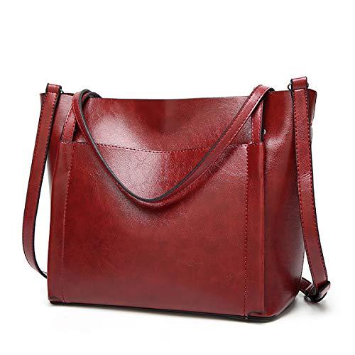 YOUNXSL Bolsos Mujer Hombro Bolso Bandolera Shopper Bolso de Mujer de PU Cuero para Las Damas Bolso de Mano Bolso Señora Tote Bag Shopping Bags Rojo