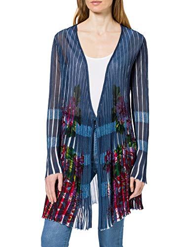 Desigual Womens JERS_RIN Cardigan Sweater, Blue, S
