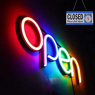 LED Open Sign,16x6 inch Open Sign for Business,with Multiple Flashing Modes, Ideal for Restaurant, Bar, Salon and More,24V/1A Power Supply,with Open/Close Sign (red Blue Green Orange)