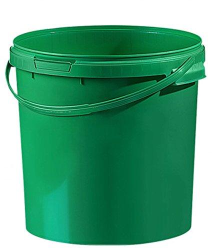 Fuduu.de Cubo de plástico de colores, 21,1 l, con tapa, 1 unidad, color verde