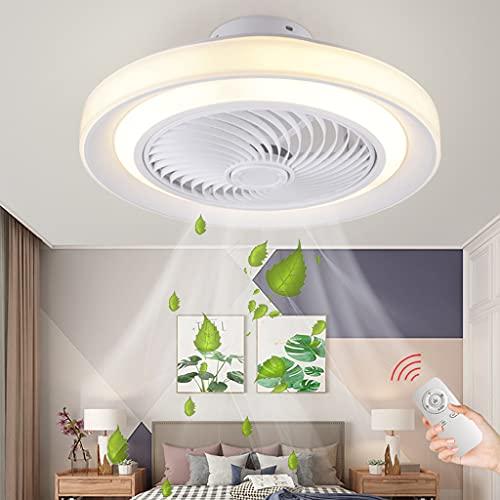 LED Ventilador De Techo Con Iluminación Luz De Ventilador Regulable Velocidad De Viento Ajustable Ventilador Lámpara De Techo Sala De Estar Dormitorio Habitación Los Niños Lámpara Colgante(White/50CM)