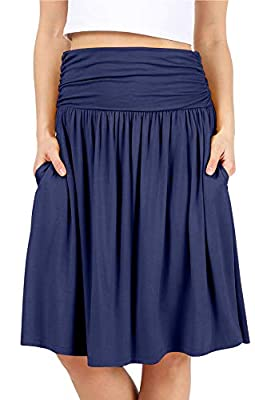 Navy Skirts for Women Knee Length Navy a Line Skirt Skirt with Side Pockets High Waisted Flowy Skirt Womens Skirts Navy Blue Skirt (Size Small, Navy)