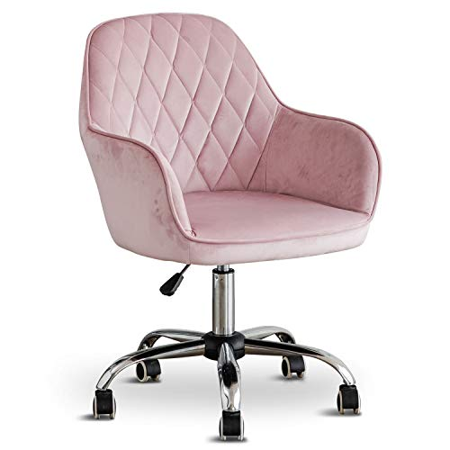 Home Office Swivel Velvet Chair Computer Chair, Ergonomic Mid-Back Comfortable Executive Accent Chair with Arms for Living Room, Bedroom, Adjustable Height for Study Room, Bedroom and Vanity (Pink)