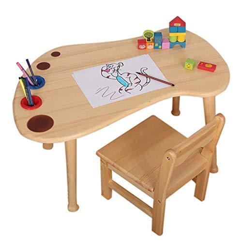 XGGYO Pour Enfants Table Et Chaise, Table En Bois Massif Enfant En Bas Âge Et Chaise, Étudier Bureau Pour La Maison Maternelle 2-8 ans Enfants En Bas Âge / 1 Table 1 Chair