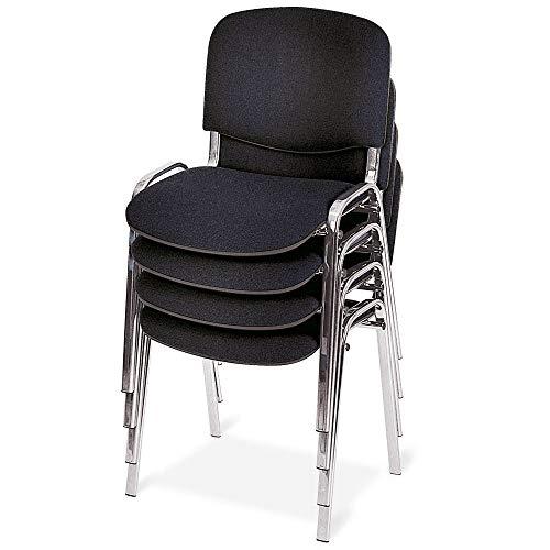 4x Polster-stühle, stapelbar, BxTxH 545x425x820 mm, Sitz BxTxH 475x415x470 mm, schwarz