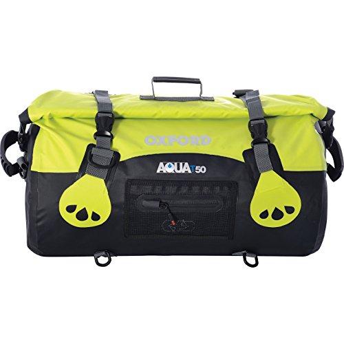 Oxford Moto Aqua T50 Valise étanche pour Moto d'une capacité de 50 litres, Noir et Jaune Fluo