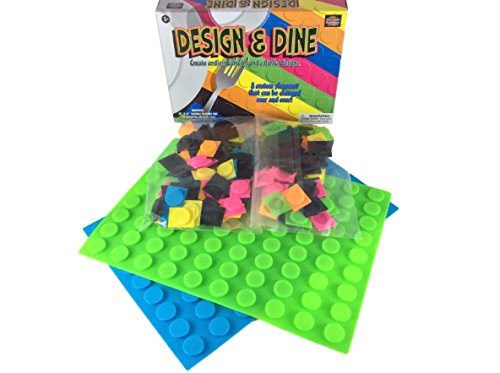 2 Pack Green and Blue Kids Fun Silicone Creative Art Puzzle Placemat with 60 Assorted Colored Tabs per Mat