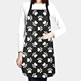 Abucaky Dog Animal Paws Print Waterproof Apron for Adults Chef Bib with Roomy Pocket for Kitchen BBQ Crafting Drawing