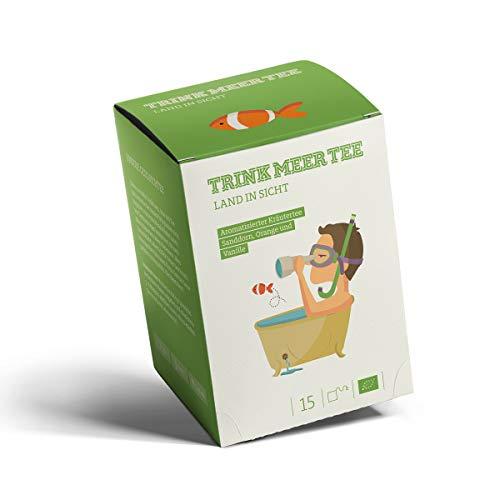 Trink Meer Tee LAND IN SICHT - Bio Kräutertee   hocharomatisch   Bio Tee mit Sanddorn, Orange, Fenchel, Brennnessel & Melisse   Vanille Aroma   Biotee in handgenähten Teebeuteln I 15 x 3,5g = 52,5g