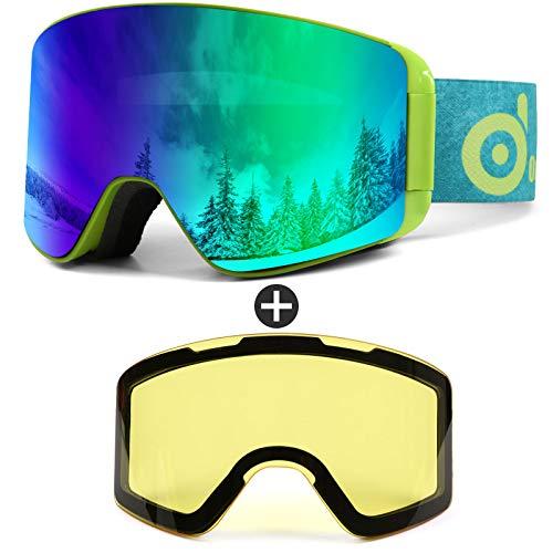 Odoland Skibrille für Damen und Herren Jungen Ski Goggles Anti-Fog UV-Schutz mit Magnetische Wechselglas Snowboardbrille Helmkompatible zum Snowboard Skifahren VLT 10%