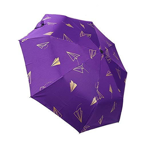 Automatik Regenschirme Winddichte Faltregen Regenschirme Für Frauen Sonnenschirm UV Papier Flugzeug Regenschirm - YD200005PU
