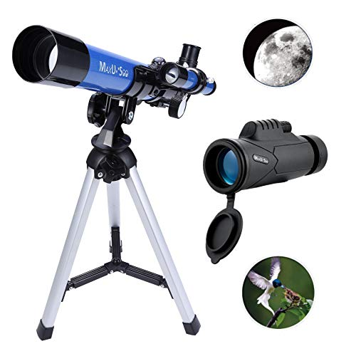 MaxUSee Kids Telescope 400x40mm with Finder Scope for Kids & Beginners + Portable 10X42 HD Monocular with BAK4 Prism FMC Lens for Moon Viewing Bird Watching Wildlife Scenery