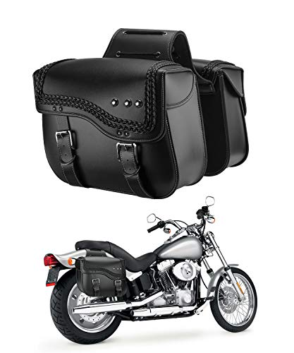 Motorcycle Saddlebags, Synthetic Leather Side Bags for Sportster Softail Dyna V-star Shadow