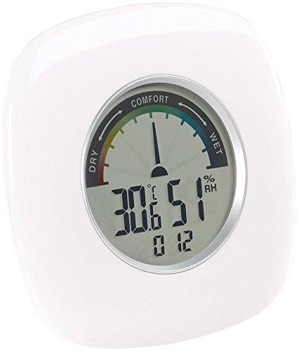 PEARL Luftfeuchtemesser: Digitales XXL Thermometer, Hygrometer & Uhr, grafische Anzeige, 10 cm (Uhr Temperatur Luftfeuchtigkeit)
