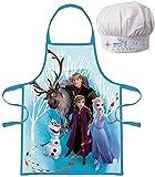 Delantal + sombrero de chef cocinero Disney Frozen II Frozen 2 disfraz para niño de 3 a 8 años, azul Anna Elsa Olaf Sven Kristoff