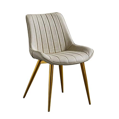 PU Dining Chairs 1 Piece Kitchen Chair Faux Leather Seat Golden Metal Legs Reception Chairs with Backrest Soft Cushion (Color : Creamy-White)