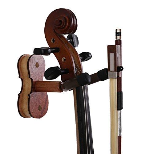 Gancio per violino in legno duro, gancio per violino in palissandro, con gancio per arco per casa e studio da parete