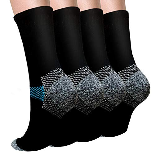 Sport Plantar Fasciitis Compression Socks Arch Support Ankle Socks - 4Pairs(L/XL)
