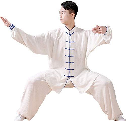 AZWE Tai Chi Uniform Kleidung Leinen Atmungsaktiv Kampfkunst Performance Kleidung Chinesischen Stil Trainingskleidung für Männer und Frauen Mittleres Alter Morgengymnastik Taijiquan Trainingskleidung