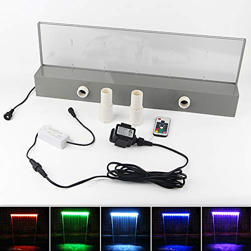 APONUO Lighted Waterfall Pool Fountain 24' RGB LED Pool Fountain 7 Color Remote Changing Spillway for Sheer Descent(2 Connector Choose)