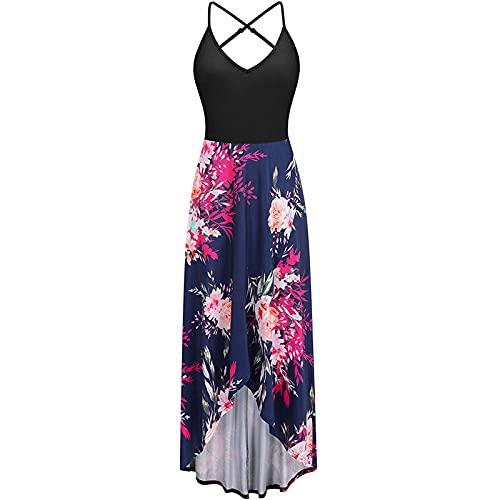 Finebo Damen Kleider Elegant Sommerkleid ärmelloses Strumpfkleid lässig sexy Mode Boho Kleid Plus Size Druck lose Strandrock Kleid Party Strandrock Kleid