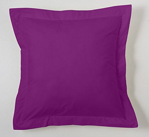 ESTELA - Funda de cojín Combi Lisos Color Morado - Medidas 55x55+5 cm. - 50% Algodón-50% Poliéster - 144 Hilos - Acabado en pestaña
