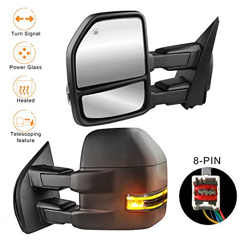 MOSTPLUS Power Heated Towing Mirrors for Ford F150 2015 2016 2017 w/Turn Signal-8 Pin Plug (Set of...