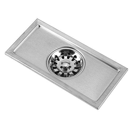 Weikeya Desagüe de suelo para ducha lineal, cuadrado, de acero inoxidable, color plateado