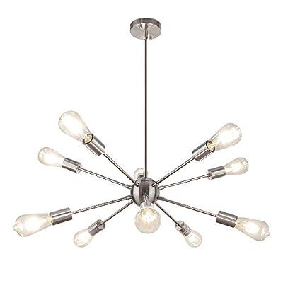 WBinDX Modern Sputnik Chandeliers 10 Lights Ceiling Light Fixture Industrial Vintage Pendant Lighting for Kitchen Dining Living Room Bedroom, Nickel