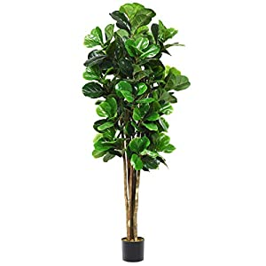 Goplus Fake Fiddle Leaf Fig Tree Artificial Greenery Plants in Pots Decorative Trees for Home & Office (6ft)