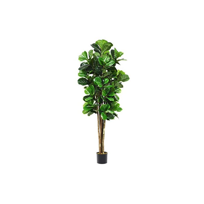 silk flower arrangements goplus fake fiddle leaf fig tree artificial greenery plants in pots decorative trees for home & office (6ft)