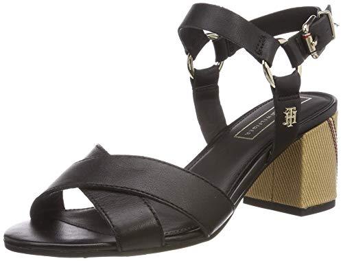 Tommy Hilfiger Elevated Leather Heeled Sandal, Sandalias con Plataforma Mujer