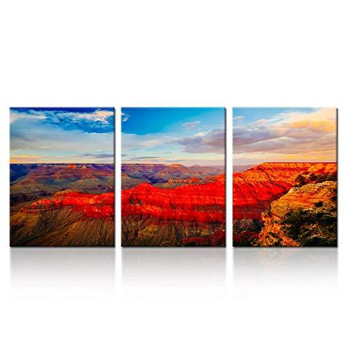 Ik canvs 3-teiliges Leinwand Prints Grand Canyon National Park Arizona Art Wand Usa berühmten Ort, Sunset Landschaft Bilder Modern Home Decor gespannt und gerahmt fertig zum Aufhängen 12x 16inchx3pcs