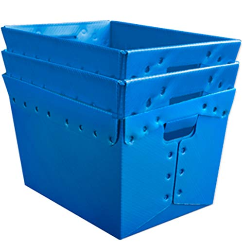 Blue Plastic Storage Totes and Stackable Storage Bins - Industrial Strength Containers for Organizing at the Office and Home - Holds Up To 80 Lbs - 18 x 13 x 12 - Pack of 3