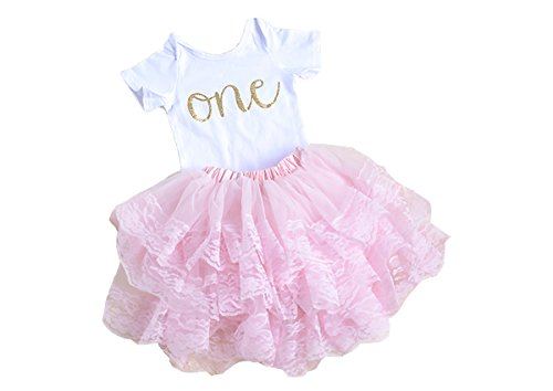 Scarlett Gene Pink First Birthday Outfit for Baby Girl, First Birthday Onesie Baby's First...