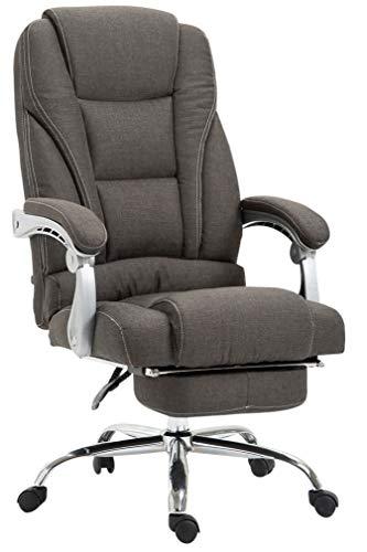 CLP Bürostuhl Pacific mit Stoffbezug | Schreibtischstuhl mit Laufrollen | Relaxsessel mit ausziehbarer Fußstütze | Max. Belastbarkeit 150 kg, Farbe:dunkelgrau