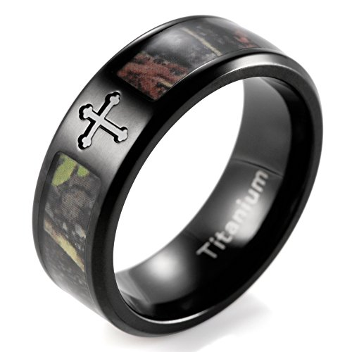 SHARDON Men's 8mm IP Black Engraved Single Cross Titanium Ring with Greenery Camo Inlay Size 12