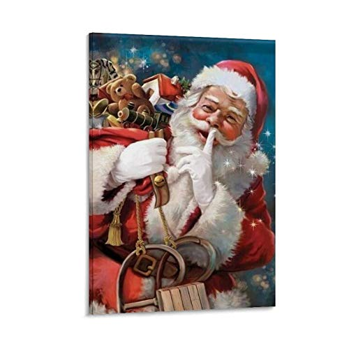 HULANG Santa Claus Paints Canvas Art Poster and Wall Art Picture Print Modern Family Room Decor Poster 12 x 18 Inches (30 x 45 cm)