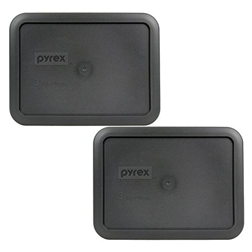 Pyrex 7210-PC Rectangle 3 Cup Charcoal Grey Storage Lid - 2 Pack