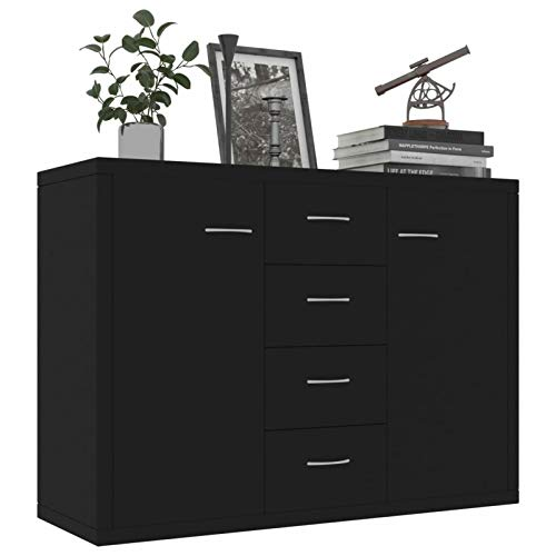 Tidyard Sideboard with 2 Doors Cabinet and 4 Storage Drawers Chipboard Sofa Couch End Side Table for Living Room, Kitchen, Bedroom, Home Furniture 34.6 x 11.8 x 25.6 Inches (W x D x H)