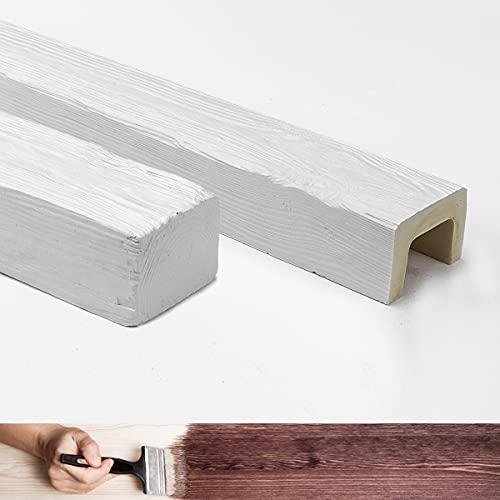 Poutres en faux bois, 4 mètres, dimensions 9 x 6 cm (matériau polyuréthane, mieux que le polystyrène) + 1 ceinture/support décoratif en faux fer. Couleur blanc peint. Véritable effet bois (ED 107)