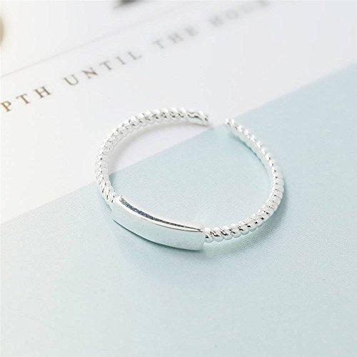 S925 Sterling Zilver Eenvoudige Twist Line Creatieve Opening Ring Vrouwelijke Rechthoekige Geometrie Forefinger Ring Sieraden, Twist cord ring, de opening is verstelbaar