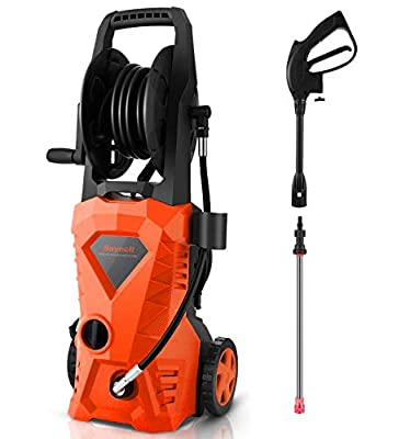Suyncll Pressure Washer 3000PSI Electric Power Washer with Hose Reel and Brush,High Pressure Washer for Driveway Fence Patio Deck Cleaning