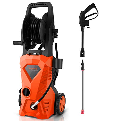 Sale!! Suyncll Pressure Washer 3000PSI Electric Power Washer with Hose Reel and Brush,High Pressure ...